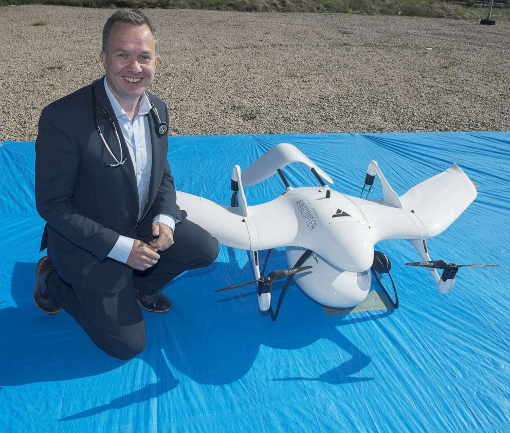 PHOTO:Professor Derek OKeeffe, of the National University, Ireland Galway is pictured here with the worlds first drone that delivers life-saving diabetes medicine.