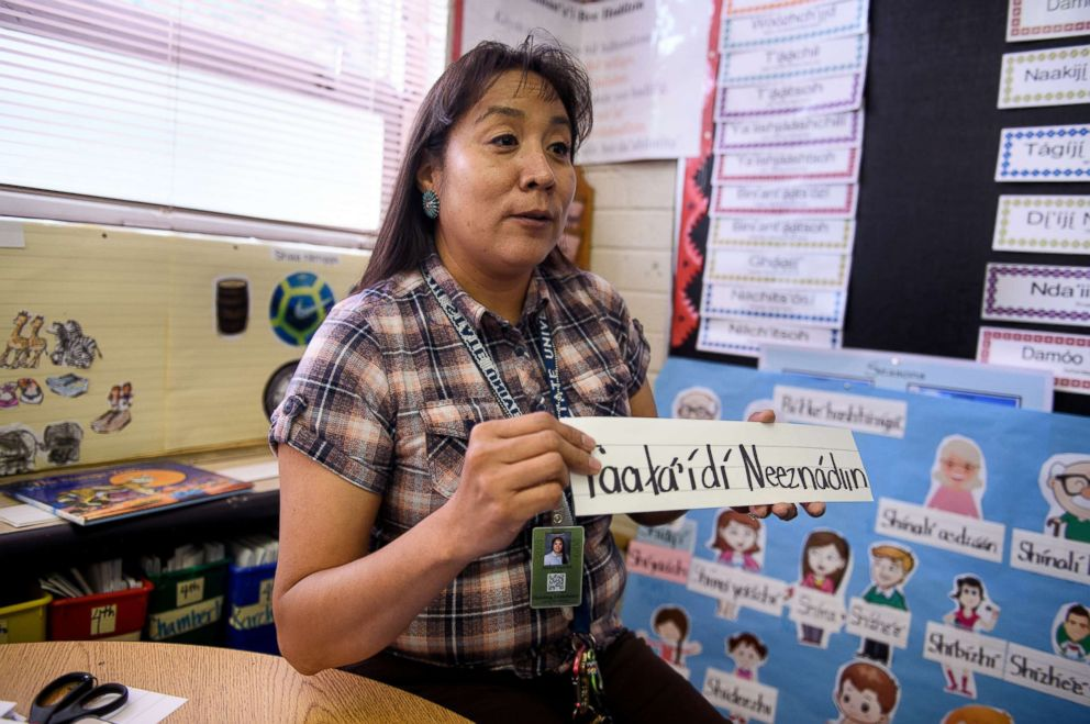 PHOTO: Mable Martin, a teacher at Blanding Elementary School, teaches Navajo to students on Oct. 1, 2018 in Blanding, Utah.