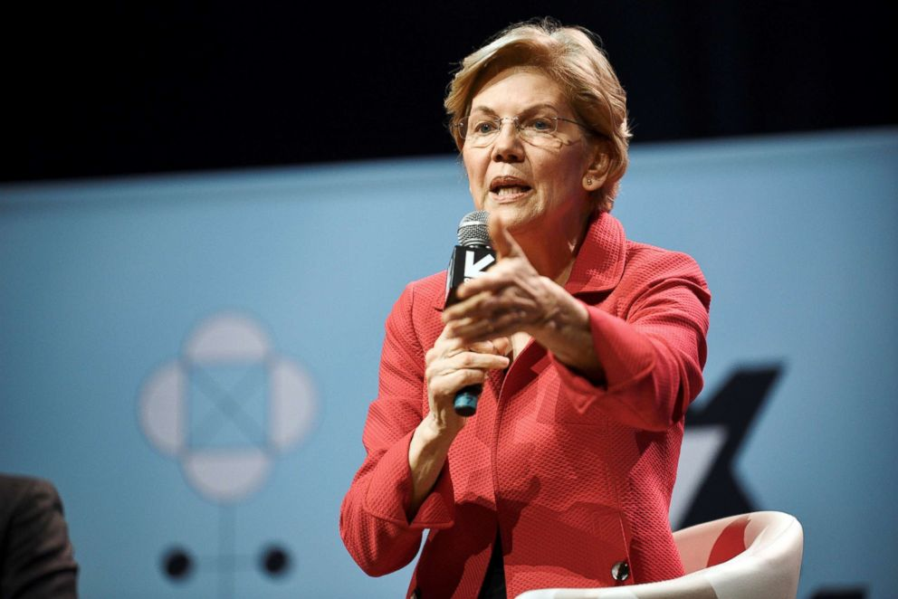 Senator Elizabeth Warren speaks about her policy ideas with Anand Giridharadas at the South by Southwest (SXSW) conference and festivals in Austin, Texas, March 9, 2019.