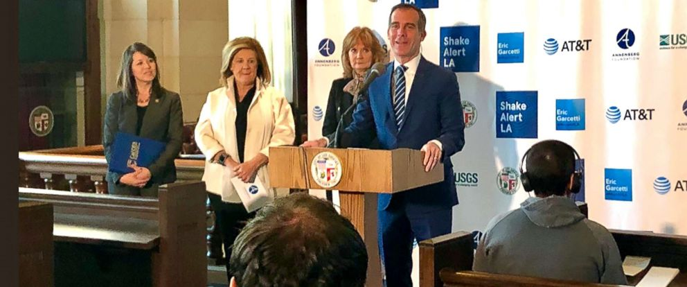 PHOTO: Deputy Mayor of Los Angeles, Jeff Gorell, posted this photo of Mayor Eric Garcetti addressing the press on Jan. 3, 2019.
