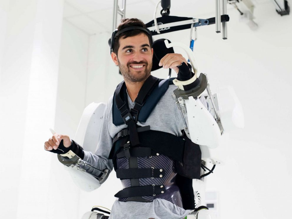 PHOTO: A Thibault, a paralyzed man was able to move all four of his paralyzed limbs with a mind-controlled exoskeleton suit because of two implants placed on the surface of his brain in Paris, Oct. 4, 2019.