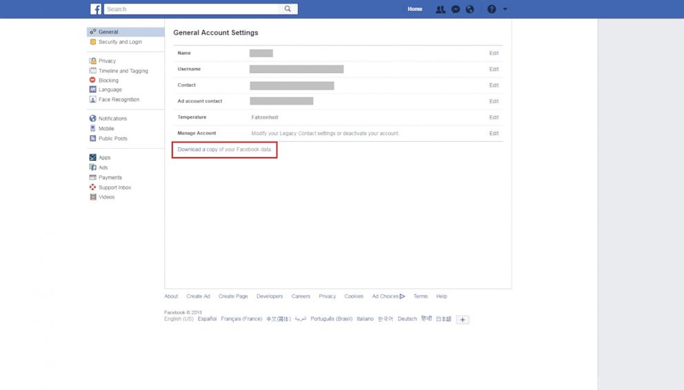 PHOTO: Click on Settings and then on Download a copy of your Facebook data at the bottom of the screen.