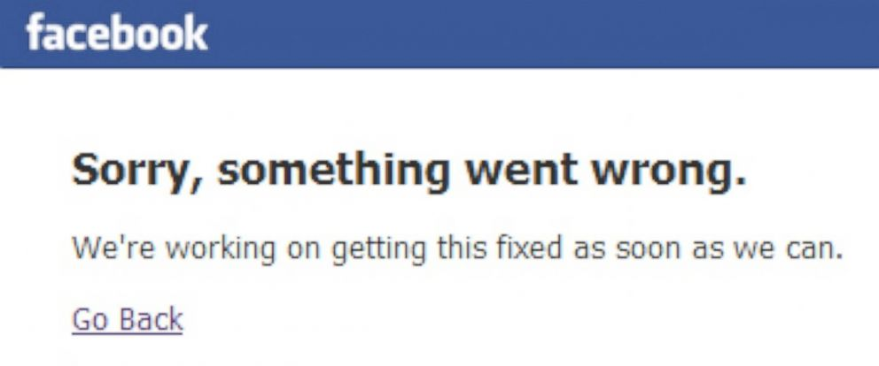 PHOTO: An error message appears for Facebook users, June 17, 2014, following an outage.