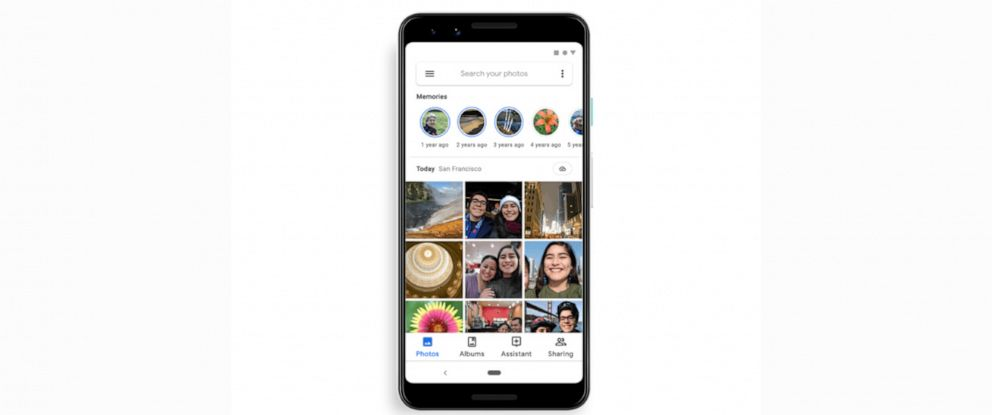 """PHOTO: The new """"memories"""" feature of the Google photos app."""