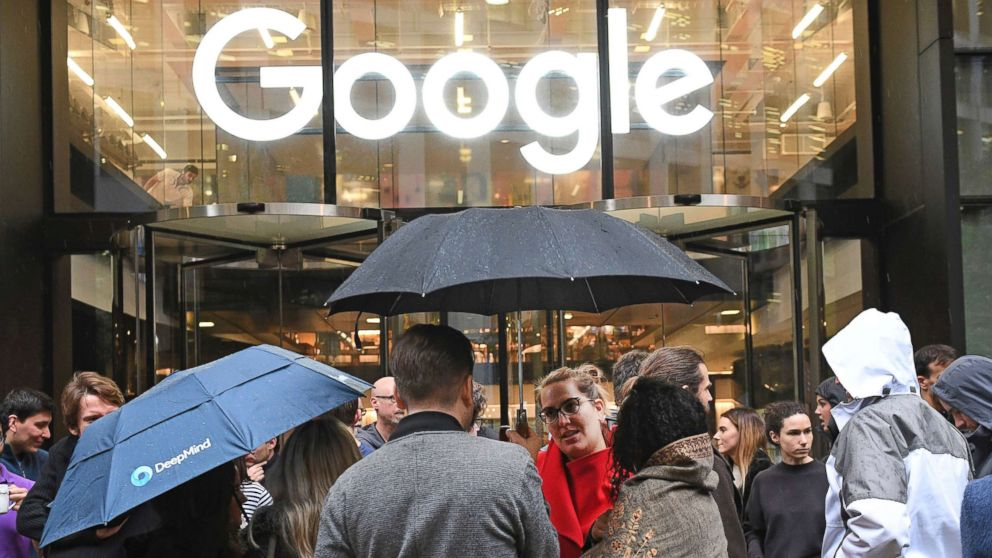 People outside the Google offices in Granary Sqaure, London, Nov. 1, 2018.