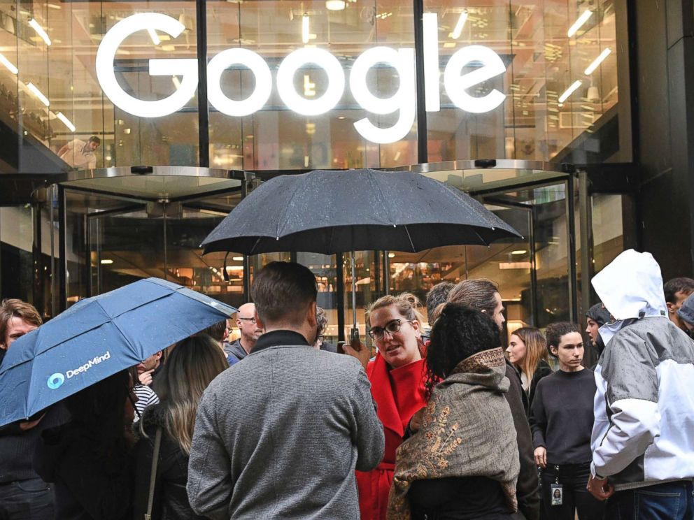 PHOTO: People outside the Google offices in Granary Sqaure, London, Nov. 1, 2018.