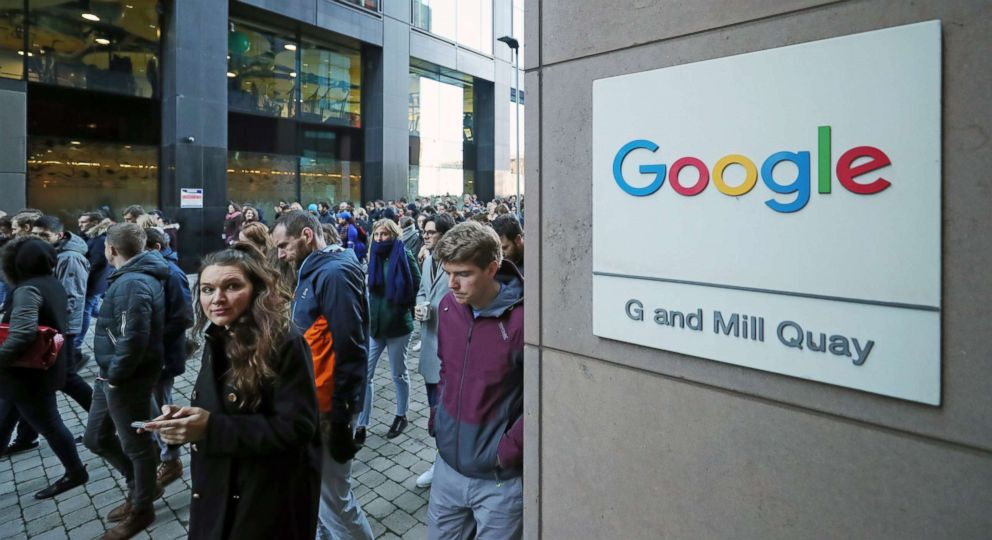 PHOTO: Google employees at its European headquarters in Dublin, Ireland, join others from around the world walking out of their offices in protest over claims of sexual harassment, gender inequality and systemic racism at the tech giant, Oct. 1, 2018.