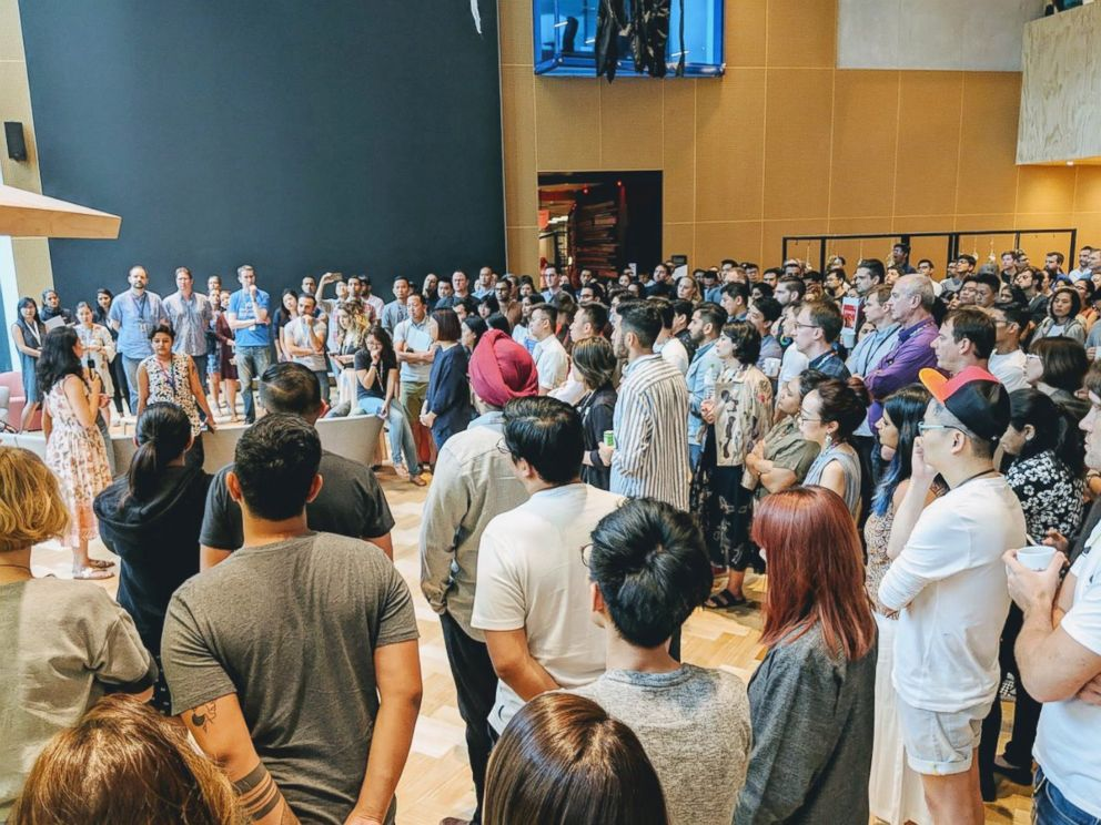 PHOTO: Google employees gather in a common area to attend the Google Walkout in Singapore, Nov. 1, 2018 in this picture obtained from social media.