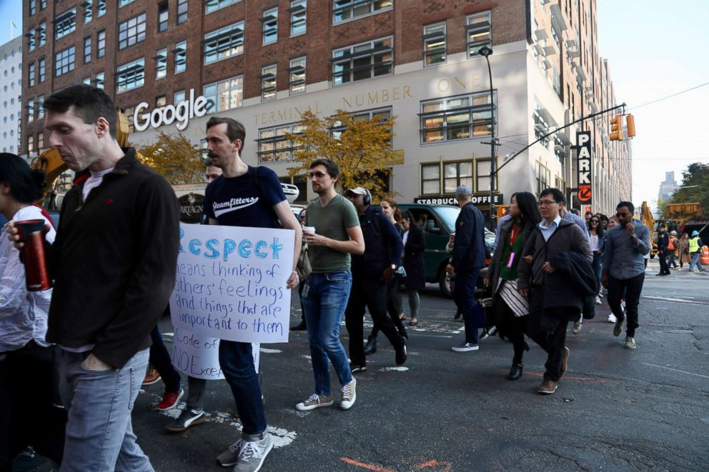 PHOTO: Google employees walk off the job to protest the internet companys lenient treatment of executives accused of sexual misconduct on Thursday, Nov. 1, 2018, in New York.
