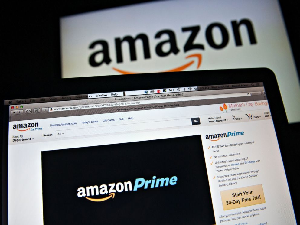 PHOTO: The Amazon.com Inc. Prime logo is displayed on computer screens, April 23, 2014, in Tiskilwa, Ill.