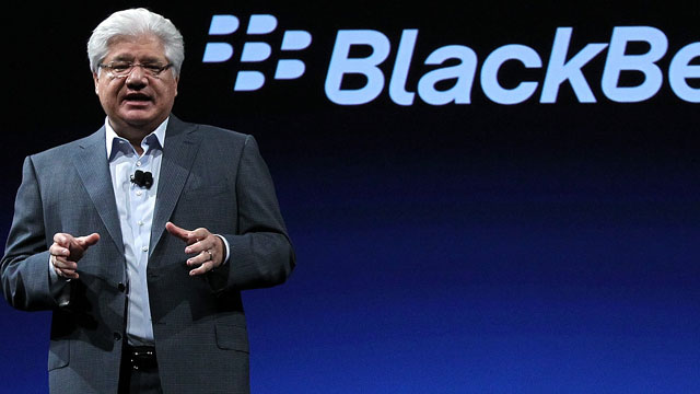 PHOTO: Research in Motion President and co-CEO Mike Lazaridis delivers a keynote address at the BlackBerry Devcon Americas in this Oct. 18, 2011 file photo in San Francisco, Cali.