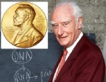 PHOTO: Francis Harry Compton Crick in front of a blackboard, explaining his work to discover the molecular structure on DNA, April 1993, in Paris. Inset, the Francis H. C. Crick Nobel Prize medal which is up for auction.