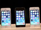 PHOTO: The new iPhone 5S with the iOS7 is displayed during an Apple product announcement at the Apple campus on September 10, 2013 in Cupertino, Calif.