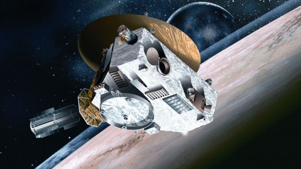 An artist's concept shows the New Horizons's Spacecraft approaching Pluto.