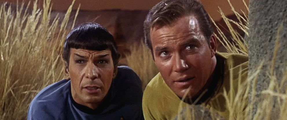 PHOTO: Leonard Nimoy as Mr. Spock and William Shatner as Captain James T. Kirk appear in a scene from The Man Trap, the premiere episode of Star Trek, which aired on Sept. 8, 1966.