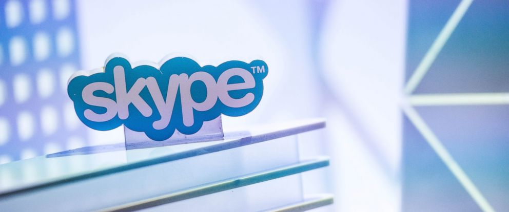 PHOTO: A skype logo is seen at the Microsoft pavilion during the second day of the Mobile World Congress 2015 at the Fira Gran Via complex on March 3, 2015 in Barcelona.
