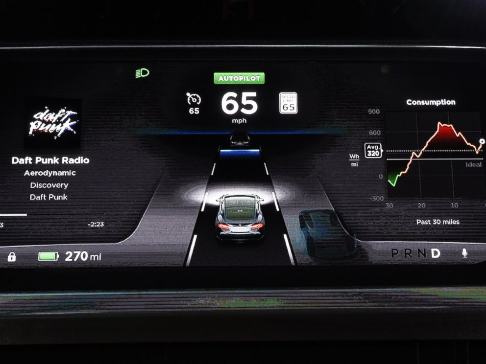 PHOTO: The dashboard of the new Tesla D model electric sedan is seen on a giant screen during Elon Musks talk at the Hawthorne Airport on Oct. 09, 2014 in Hawthorne, Calif.