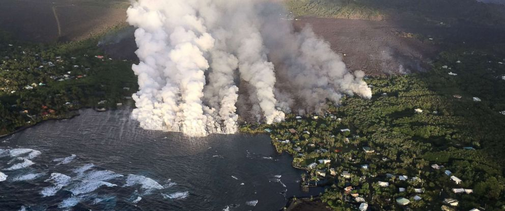 PHOTO: Lava flow originating from Fissure 8 pours into Kapoho Bay on the Big Island of Hawaii, June 4, 2018.