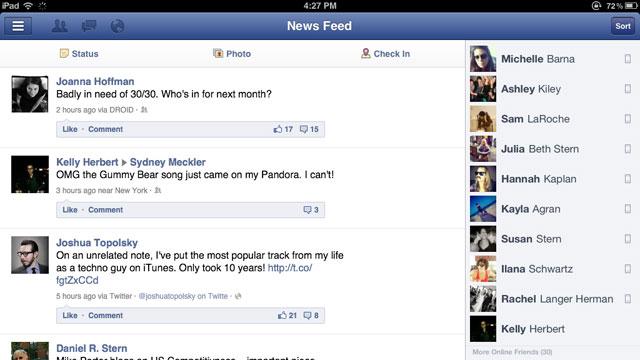 PHOTO: Facebook's iPad app.