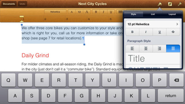 PHOTO: Apple's iWork brings word processing, spreadsheets, and presentations to the iPad.
