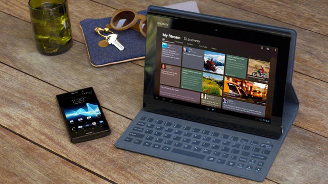 PHOTO: Sonys Xperia Tablet S runs Android 4.0 and has a unique keyboard dock.