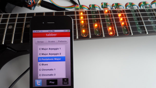 PHOTO: The Tabber Guitar Light Sleeve slips over a guitar to help you learn to play.