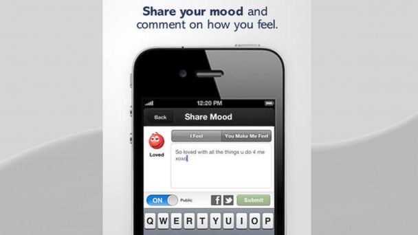 "PHOTO: Tokii helps couples be more aware of each others feelings through its ""Share Your Mood"" feature."