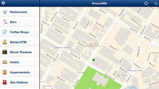 PHOTO: Around Me is a free iPad app that finds restaurants and stores in your area.
