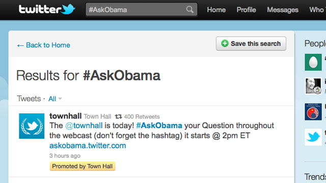 PHOTO: A Presidential Town Hall will be held Twitter, July 6, 2011.