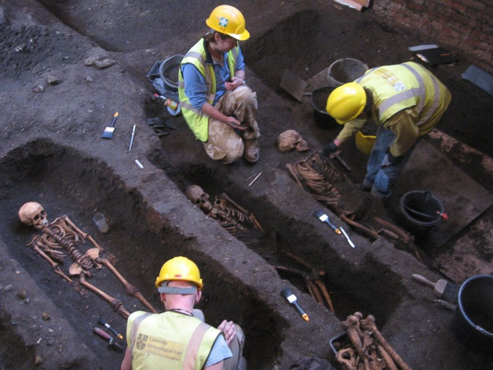 PHOTO: The Cambridge Archaeological Unit excavated bodies that were found beneath the Old Divinity School at St John's College, Cambridge, seen here in an undated handout photo.
