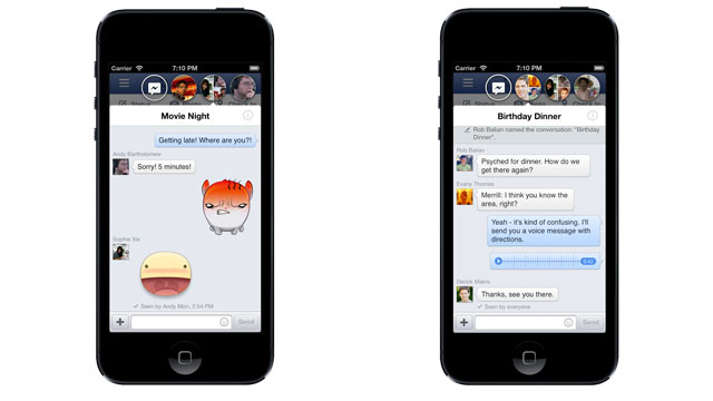PHOTO: Facebooks new iPhone app includes Chatheads for messaging.