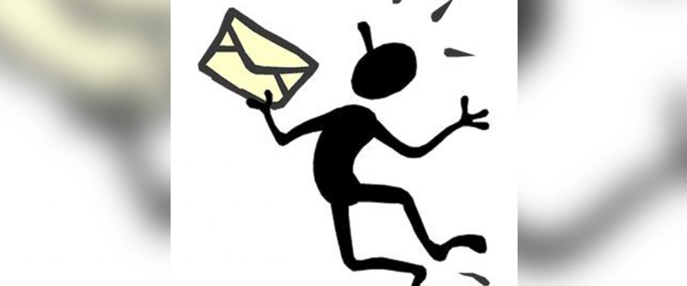 PHOTO: Screen Bean character holds mail and jumps for joy.