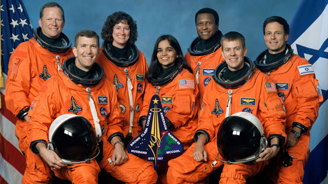 PHOTO: This is the official crew photo from mission STS-107 on the Space Shuttle Columbia, left to right are David Brown, Rick Husband, Laurel Clark, Kalpana Chawla, Michael Anderson, William McCool, and Ilan Ramon.