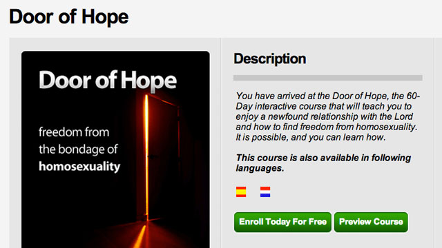 "PHOTO: The Setting Captives Free app was banned from the Apple App Store because of its ""Door of Hope"" anti-gay section."