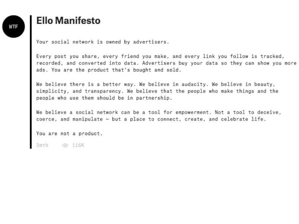 PHOTO: Ello is an invitation only social network without advertising.