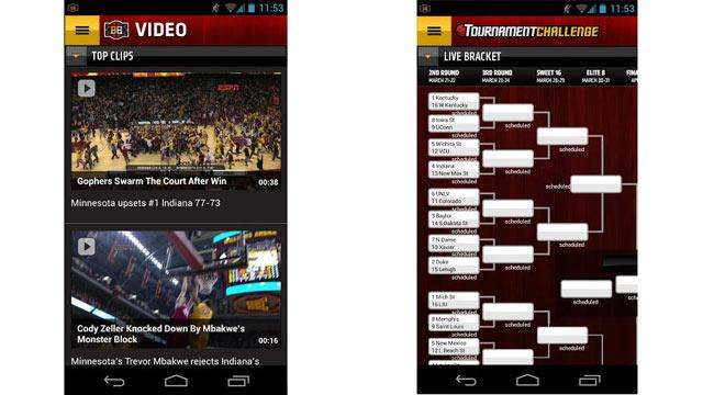 PHOTO: ESPN Bracket Bound 2013 Android App.