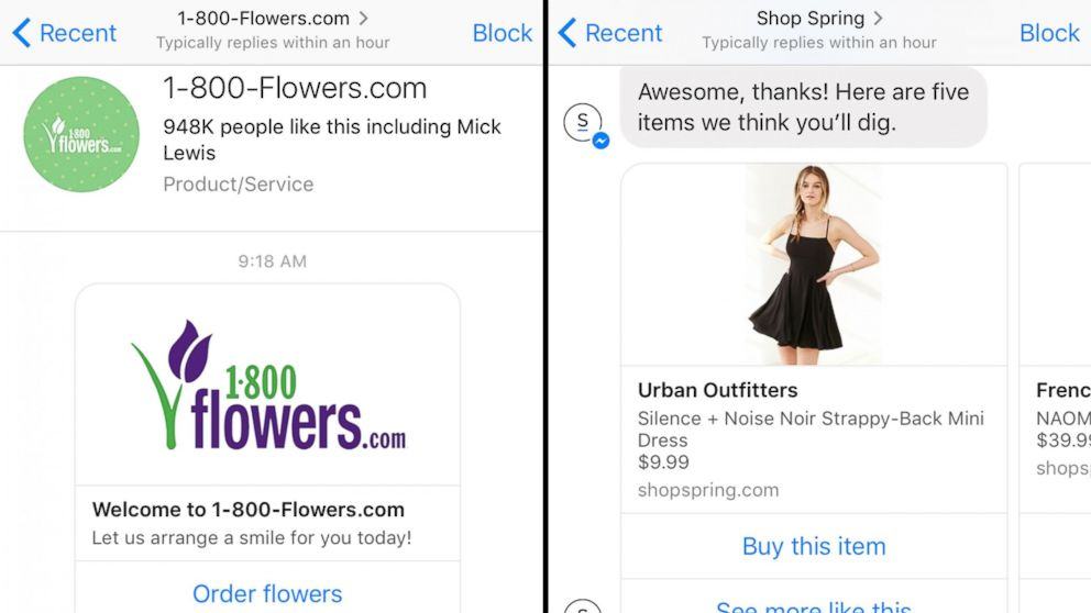 Images made from the Facebook Messenger app on April 14, 2016 show conversations with 1-800-Flowers.com and Shop Spring chat bots.