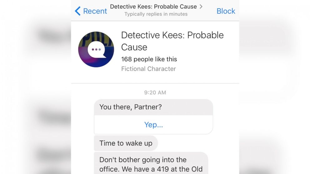 """A screen grab made from the Facebook Messenger app on April 14, 2016 shows a conversation with the """"Detective Kees: Probable Cause"""" chat bot."""