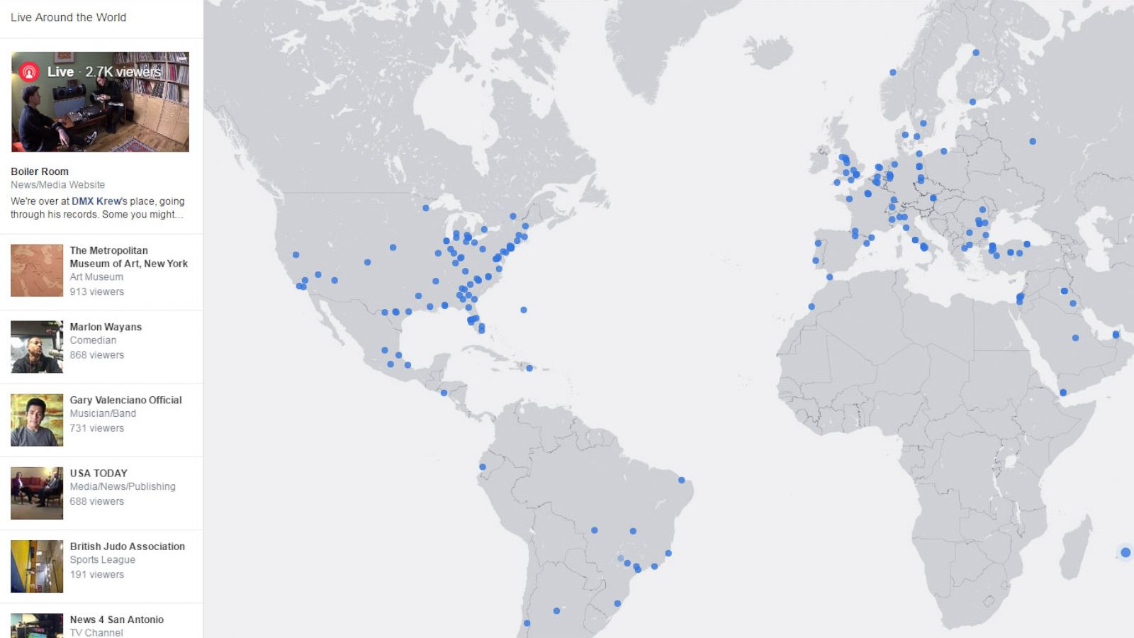 Facebook's Interactive Map Lets You Discover Live Video From