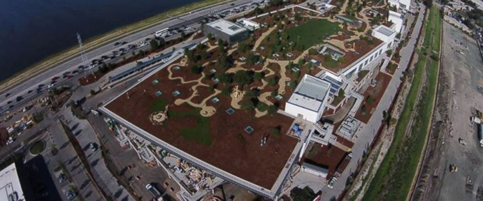 PHOTO: Facebook CEO Mark Zuckerberg posted this image of the the green roof on top of the new Facebook building in Menlo Park, Calif. to his Facebook timeline on March 30, 2015.