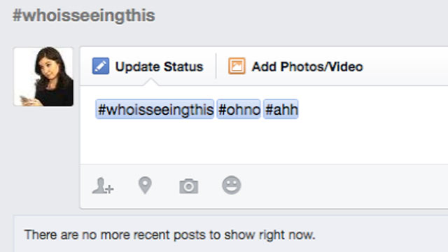 PHOTO:Facebook added clickable hashtags, June 12, 2013.