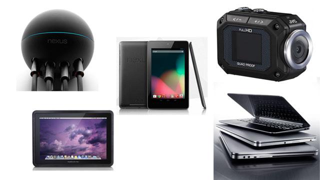 PHOTO:Google Nexus 7 Tablet; Google Nexus Q; Dell XPS 14 and 15 Ultrabooks; JVC Adixxion Camcorder; Modbook Pro Tablet