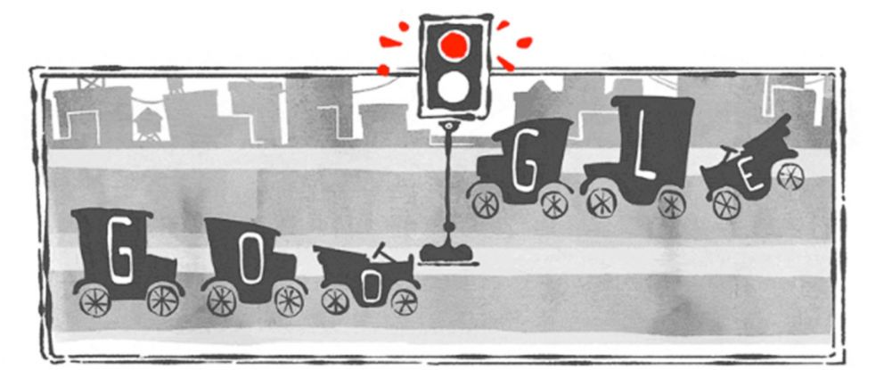 PHOTO: The Google Doodle on Aug. 5, 2015 celebrates the 101st anniversary of the traffic light.