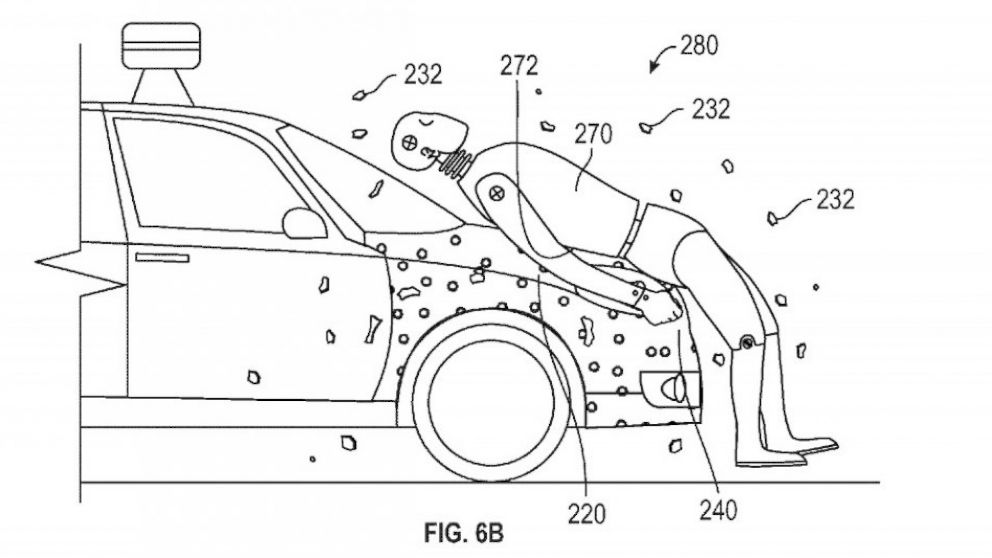Google Patents Sticky Car Hood to Trap Pedestrians in a Collision