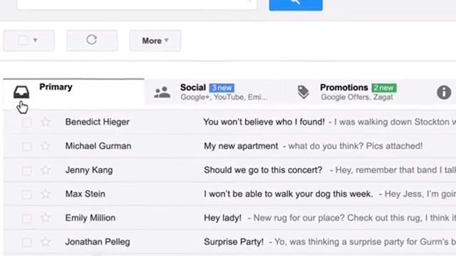 PHOTO: Googles new look for email, announced May 29, 2013.