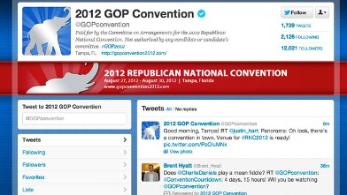 PHOTO: A screenshot of the 2012 GOP Convention Twitter account.