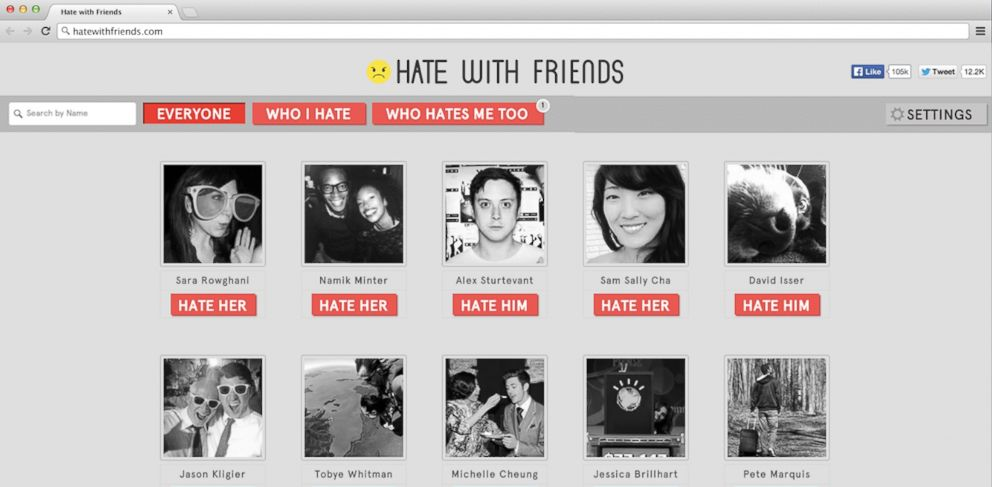 PHOTO: Hate with Friends lets you discover which of your Facebook friends hate you.