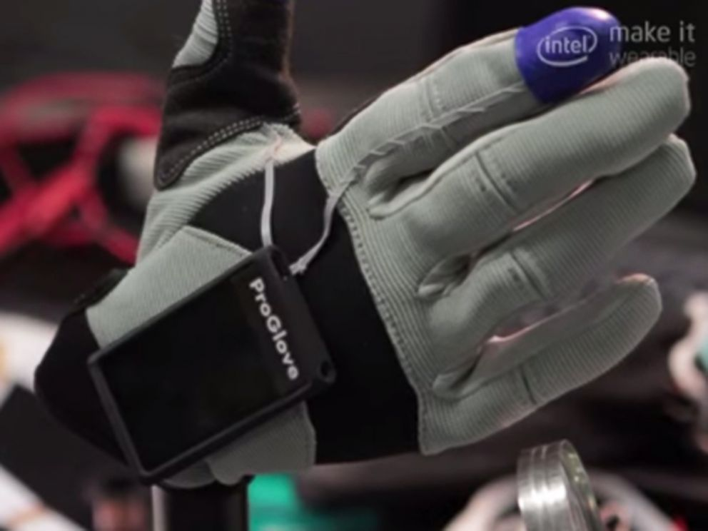 PHOTO: A team from Germany took third place in of Intels Make It Wearable contest with their production enhancing glove.
