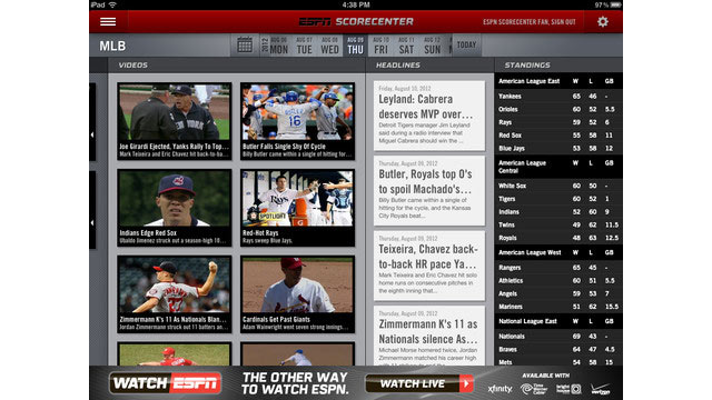 PHOTO: ESPN Sports Center is a free app for monitoring sports scores and game times.