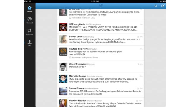 PHOTO: Twitter's official app for the iPad show links and websites right within the app.